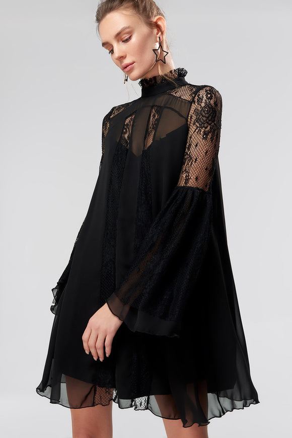4610234 Black Lace Chiffon Dress