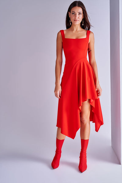 1210240 Red Asymmetrical Dress