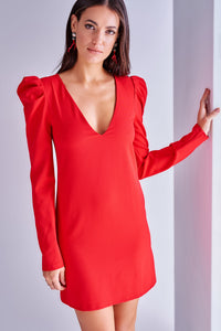 4510721 Red Puffed Shoulder Shift Dress