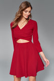 1210135 Bordeaux Open Waist Skater Dress