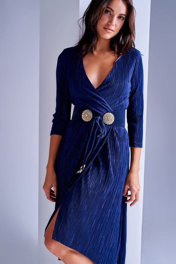 4510013 Blue Crinkle Wrap Dress
