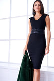 4510014 Black V-Neck Pencil Dress
