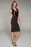 4510733 Black Faux Leather Bodice Dress