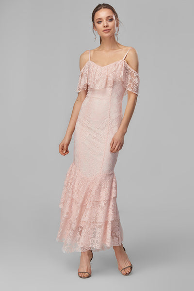 1310261 Pink Ruffle Off-Shoulder Lace Dress