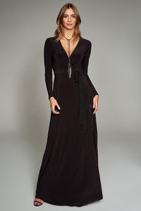 1310161 Black Wrap Collar Dress
