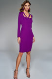 4510739 Purple Cross Strap Detail Dress