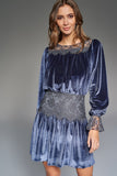 1310162 Blue Lace Detail Velour Dress