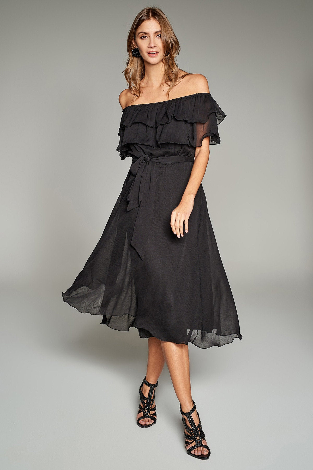 ffb4b0be4046 ... 4610137 Black Off-shoulder Collar Dress ...