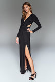 1310166 Black Waist Detail Wrap Dress