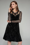 1310167 Black Velour Lace Dress