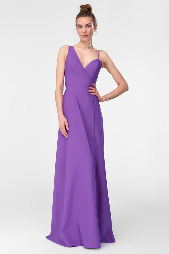 1310433 Purple Sweeping Wrap Gown