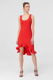 4610393 Red Ruffle Hem Pencil Dress