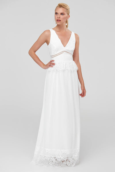 1310437 Off-White Lace Detail Maxi Dress