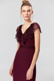 1310123 Burgundy Lace Collar Dress