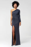 1310184 Grey Draped Maxi Dress