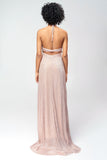 1310219 Pink Glittery Halterneck Maxi Dress