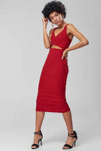 4610284 Bordeaux Front Cutout Midi Dress