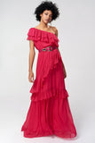 1310257 Fuschia Tiered Ruffle Maxi Dress