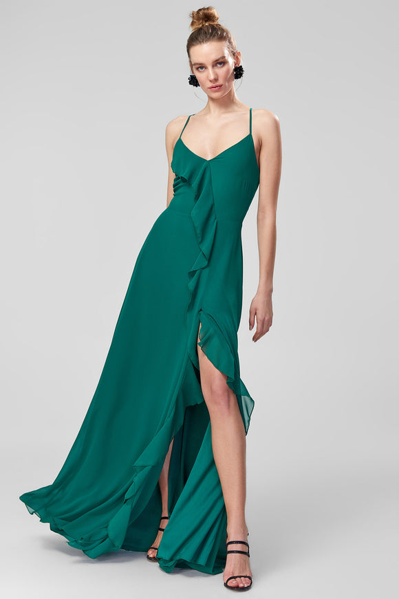 1310179 Emerald Green Strap Ruffle Maxi Dress