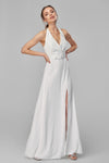 1310192 White Halterneck Maxi Dress