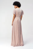 1310256 Powder-Beige Shimmer Maxi Dress