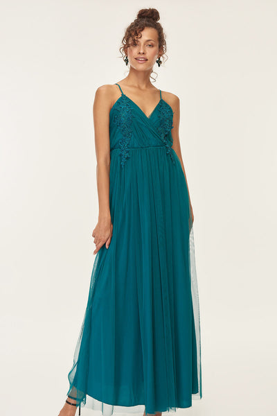1310706 Petrol Blue Lace Tulle Skirt Strap Dress