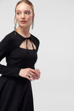 4610318 Black Bolero Collar Dress
