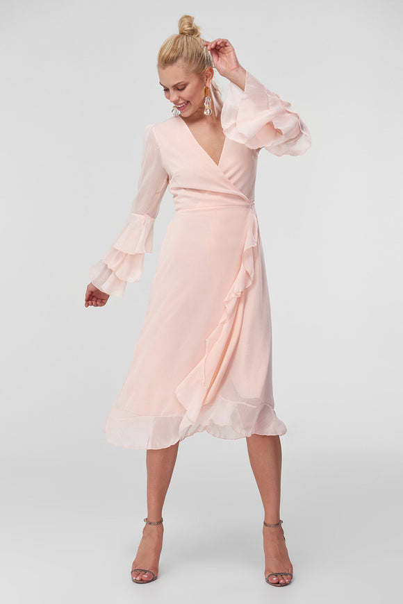 4610319 Salmon Ruffle Detailed Midi Dress