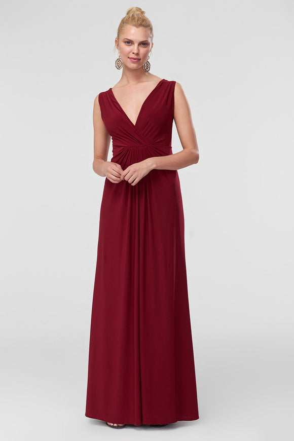 1310274 Burgundy Ruched Maxi Dress