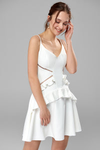 4610321 Off-White Ruffle Waist Mini Dress