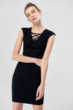 4610322 Black Drawstring Neck Dress