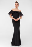 1310399 Black Of-Shoulder Mermaid Dress