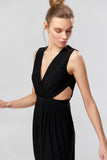 1310201 Black Wrap Maxi Dress