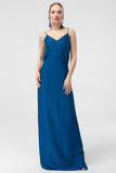 1310337 Blue Sweeping Open Back Dress