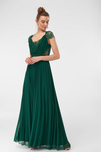 1310332 Green Lace Pleated Dress