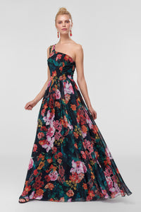 1310349 Multi Colour Floral Sweeping Dress