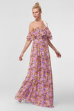 1310381 Lilac Floral Off-Shoulder Dress