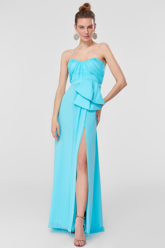 1310375 Blue Sweetheart Drape Dress