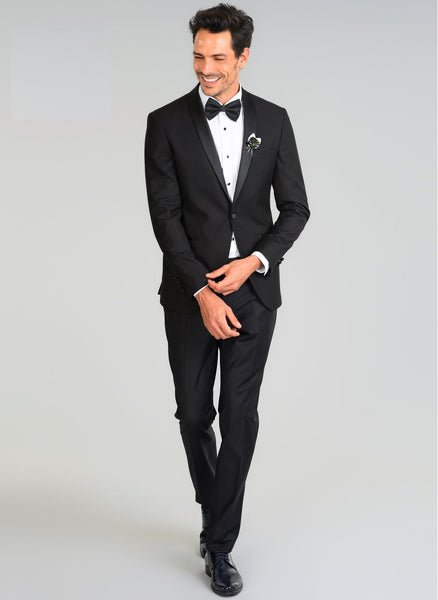 2420002 Black Slim Fit Plain Tuxedo