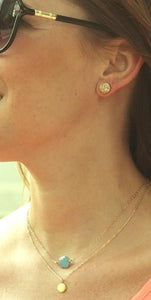 Drusy Studs Gold on Model