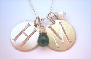 Just DISCS (no chain) 14kt Gold Disc Initials (Best Seller)