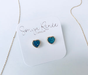 Drusy Heart Short Necklace