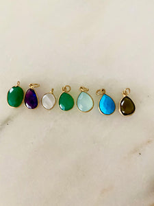Green onyx, Amethyst, Moonstone, Teadrops in: Green, Seafoam, TQ, Smoky