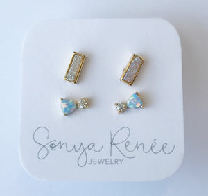 Opalite and Drusy Studs Set