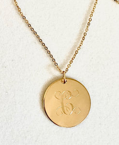 18mm  - 14kt Gold Engraved Disc