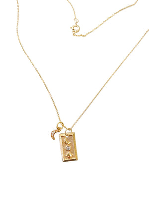Starlight Rectangular Tag (dbl charm) necklace