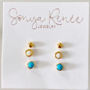 Tiny studs, trifecta set of opal, turq, gold ball