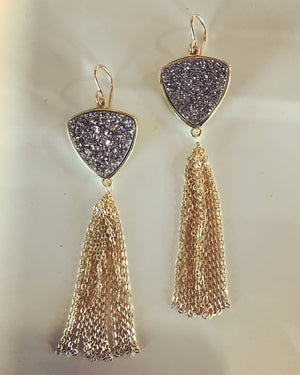 Trillion Drusy Tassel Eaarings