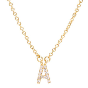 Pave Initial Necklace Gold