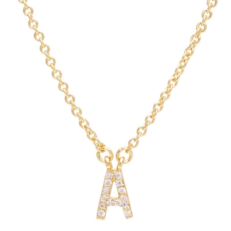 Pave initial necklace pave initial necklace gold aloadofball Choice Image